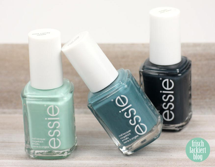 essie - mint candy apple, pool side service, mind your mittens