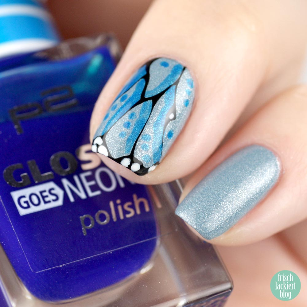 Misslyn Denim Look Nail Polish – 08 stonewashed – butterfly nailart
