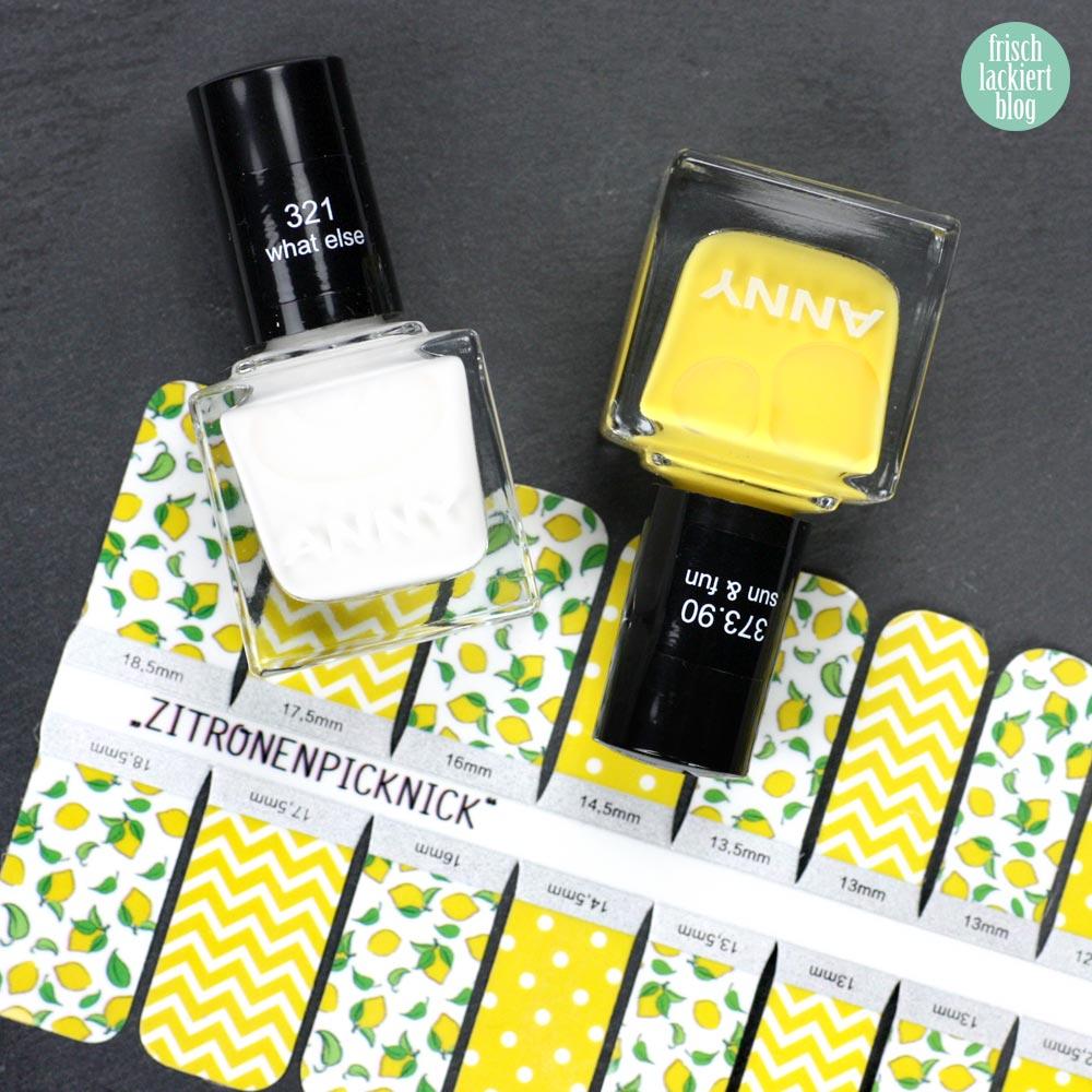 Frischlackiert-Challenge Obst Nailart – Stickergigant Nailwraps Zitronenpicknick - by frischlackiert