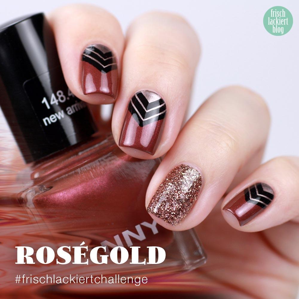 Frischlackiert-Challenge – Roségold Nailart mit Dreieick Stamping – ANNY new arrival – by frischlackiert