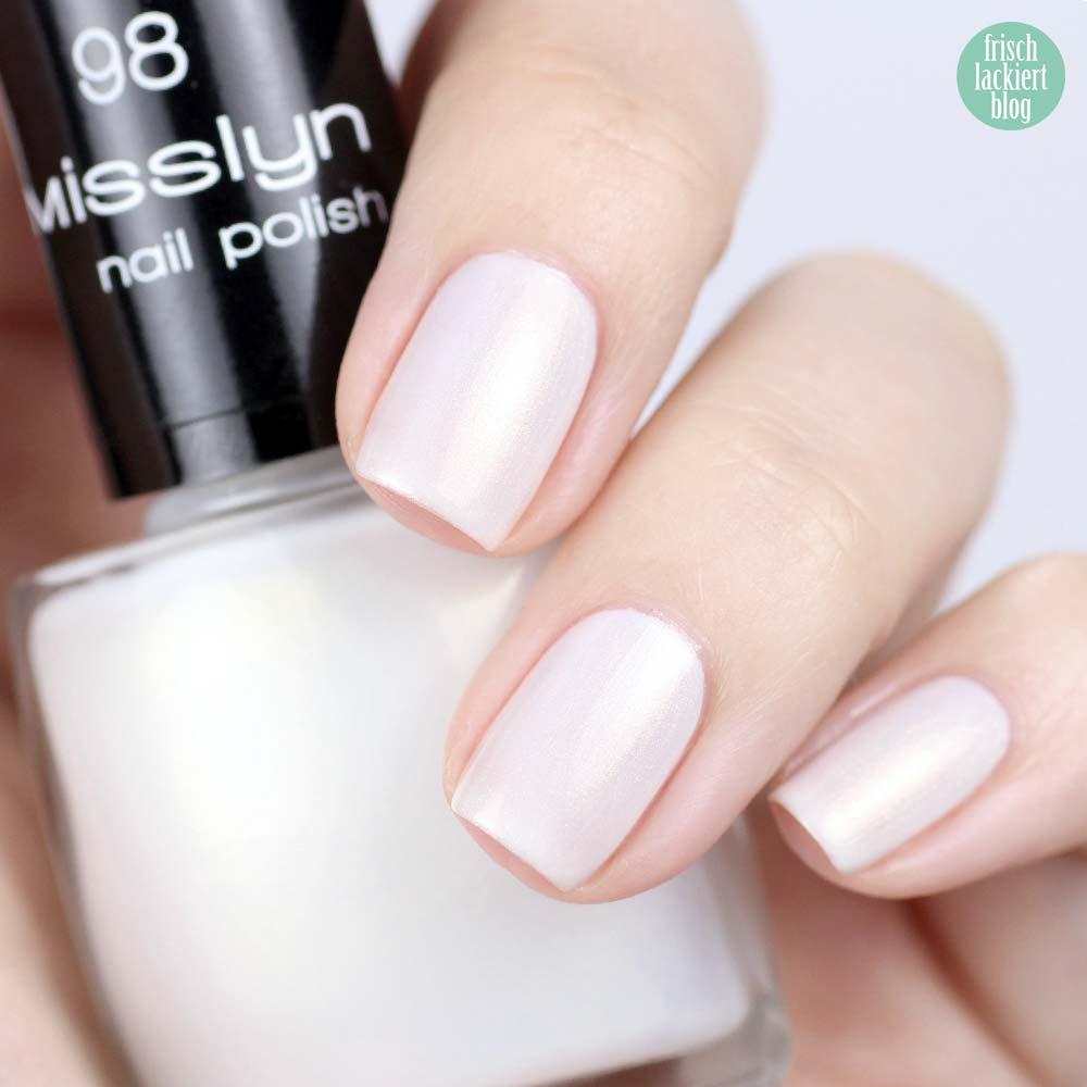 Misslyn Nagellack – 98 white sensation – Schimmer Weiß mit Gold – swatch by frischlackiert
