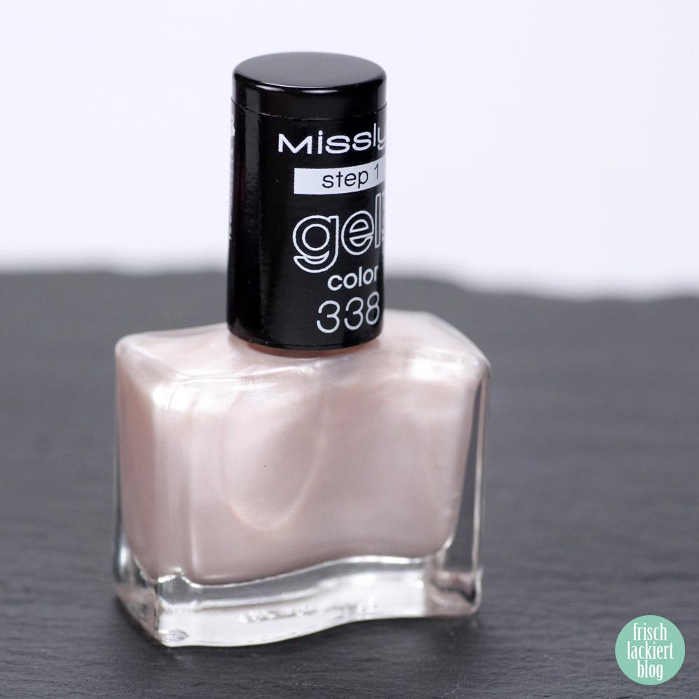 Misslyn Gel Effekt Nagellack – 338 marshmallowselle chic – Schimmer Weiß Rosa - swatch by frischlackiert