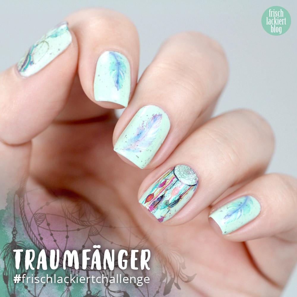 Frischlackiert-Challenge – Traumfänger Nailart – Dreamcatcher mint – by frischlackiert