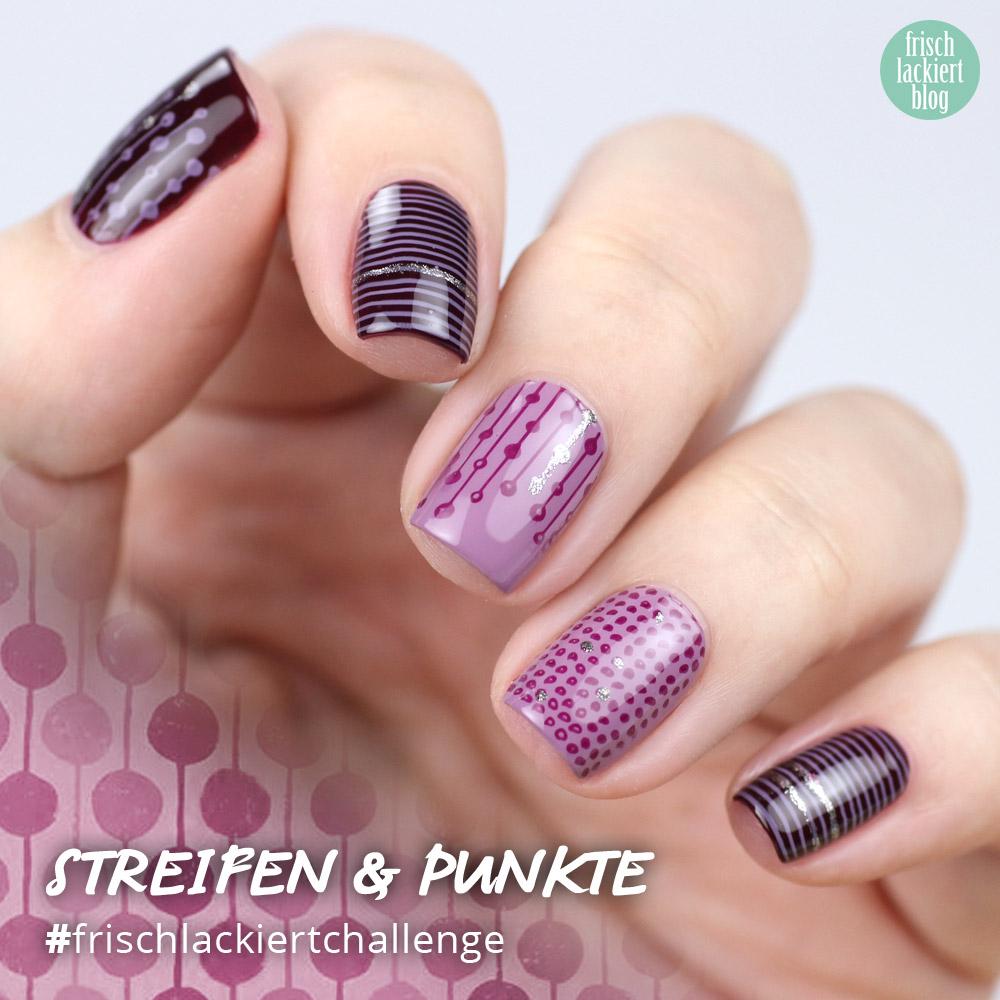 Frischlackiert-Challenge – Streifen Punkte Nailart – by frischlackiert