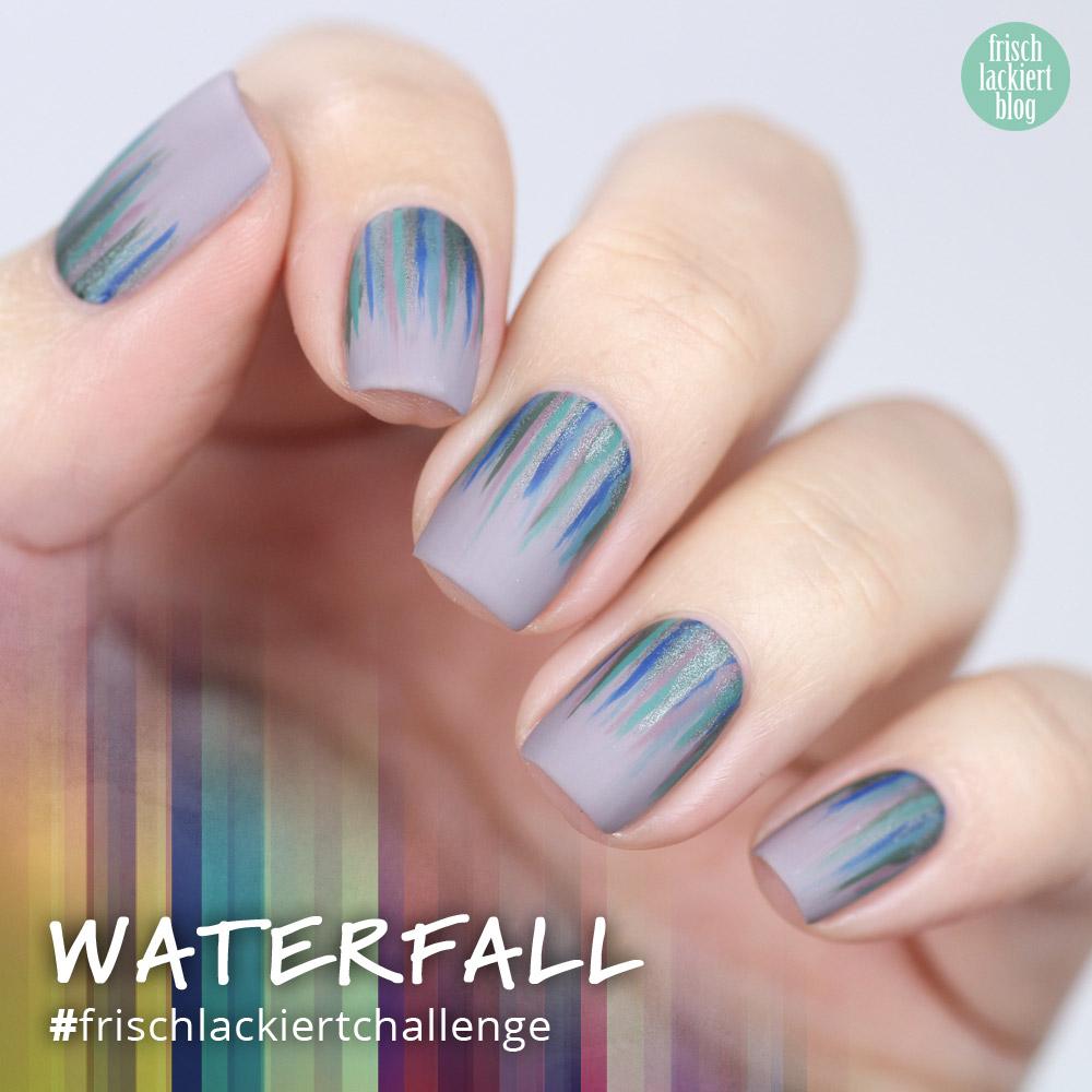 Frischlackiert-Challenge Waterfall Nails – nailart – edding laque – by frischlackiert