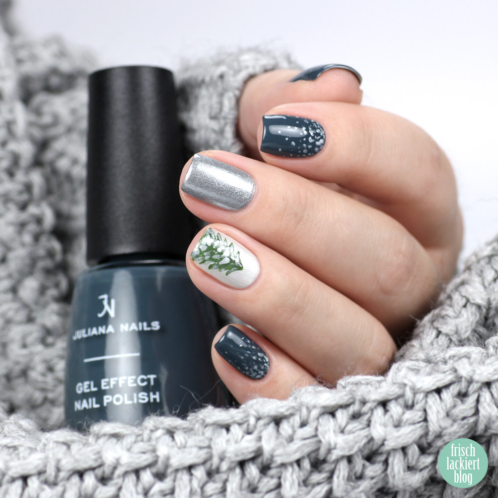 Winter Schnee Nailart mit Juliana Nails – Blau, Weiß, Silber, Grün – by frischlackiert