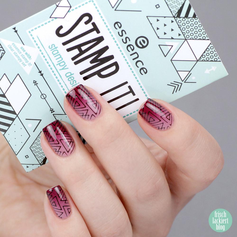 Essence Stamp it – clear stamper aus der Drogerie – Gradient Basis mit geometrischem Stamping – by frischlackiert