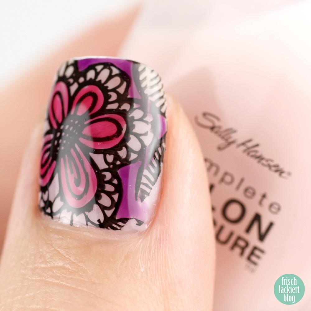 Blumen Stamping mit p2 gloss goes neon