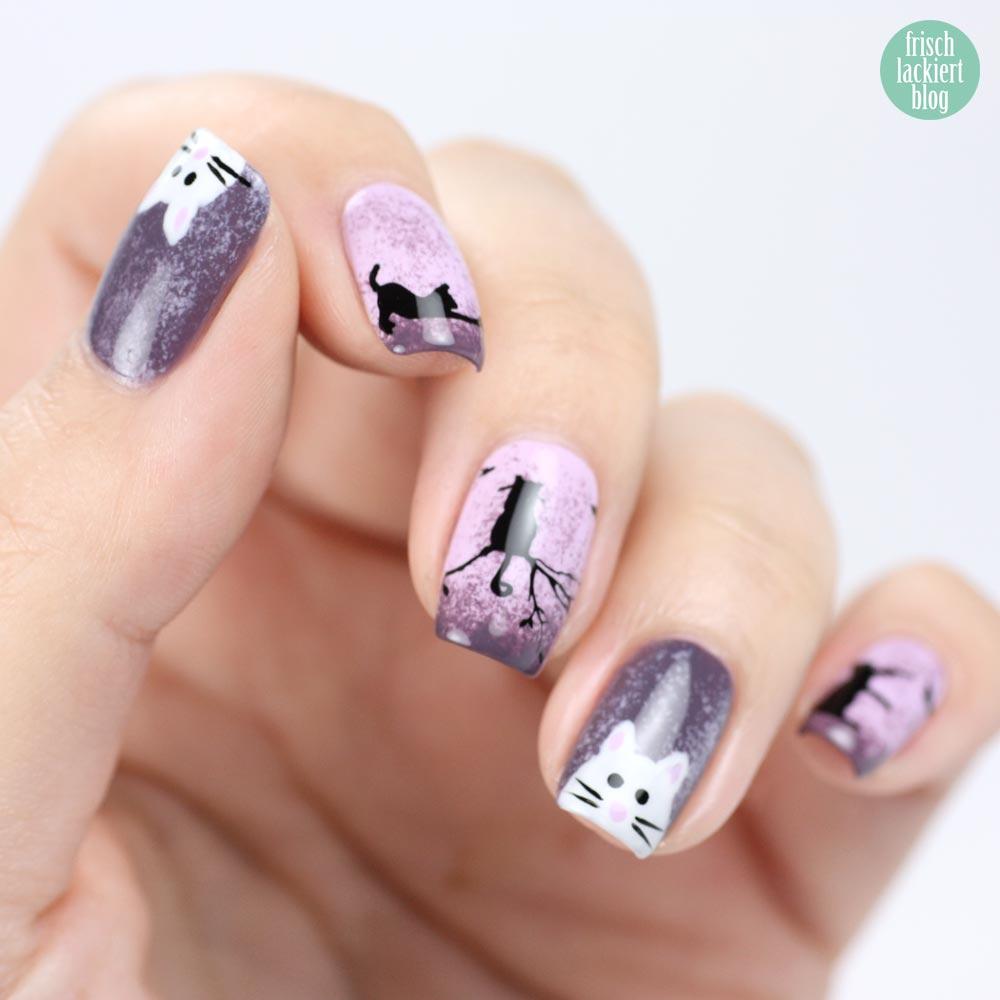 Frischlackiert-Challenge – Katzen Nailart – Cat Naildesign