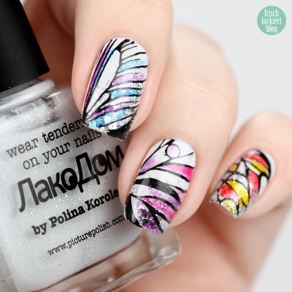 Frischlackiert-Challenge Schmetterling Nailart – butterfly nails by frischlackiert