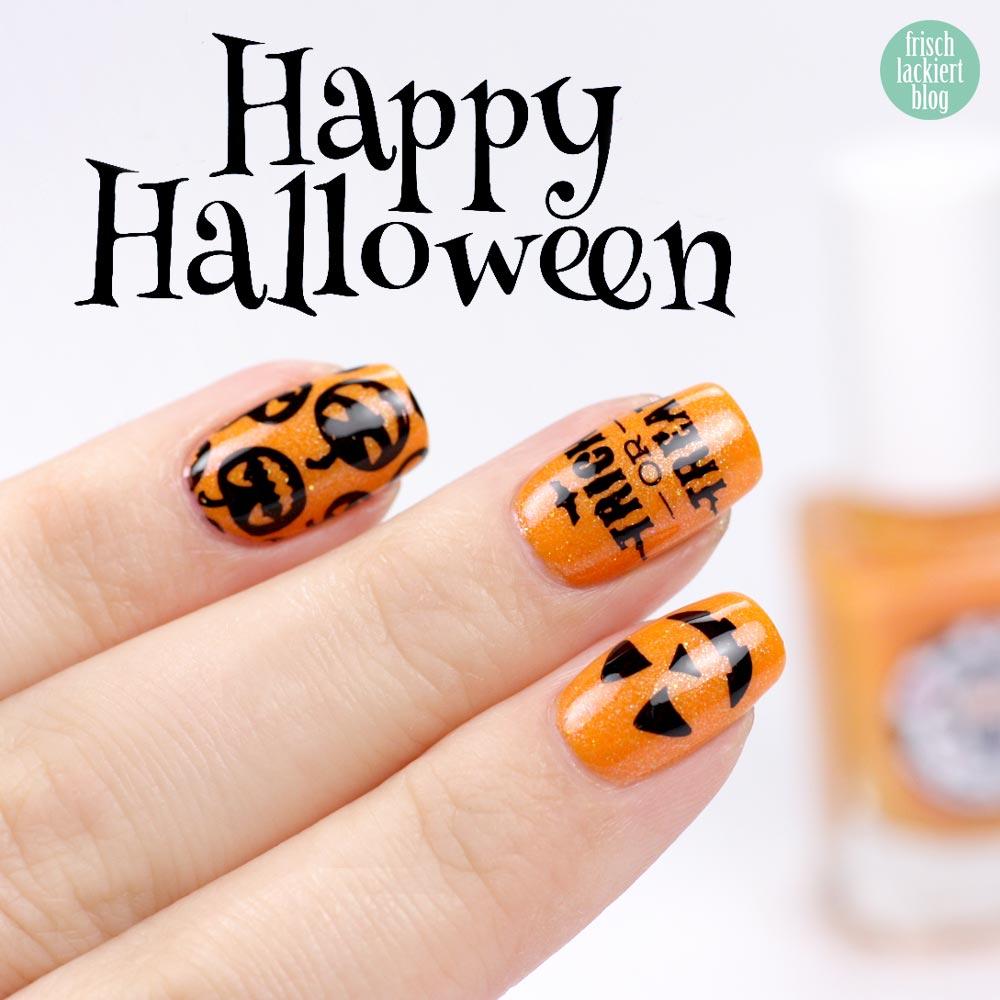 Scaryween Challenge – Moo Moo Signatures – Jack-O-Lantern – Pumpkin Nailart - by frischlackiert
