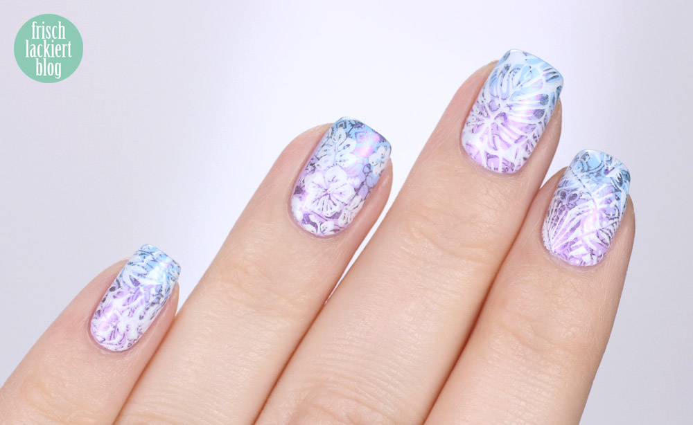 Kester Black Lilac Cumulus via SavueBeauty – gradient stamping nailart for spring - by frischlackiert
