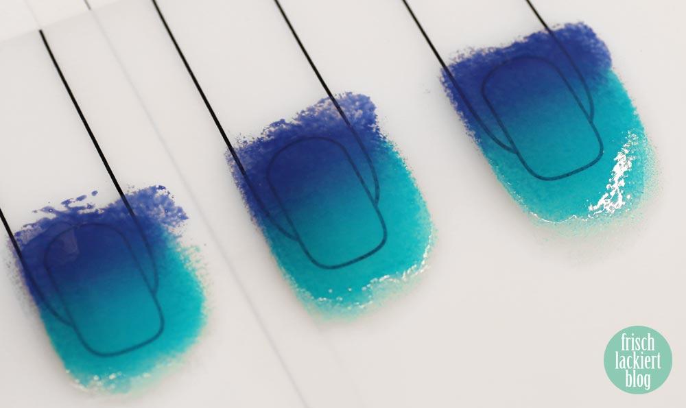 Gradient Nailart mit Decals – Verlauf Streifen mit Stamping – Frischlackiert-Challenge - by frischlackiert