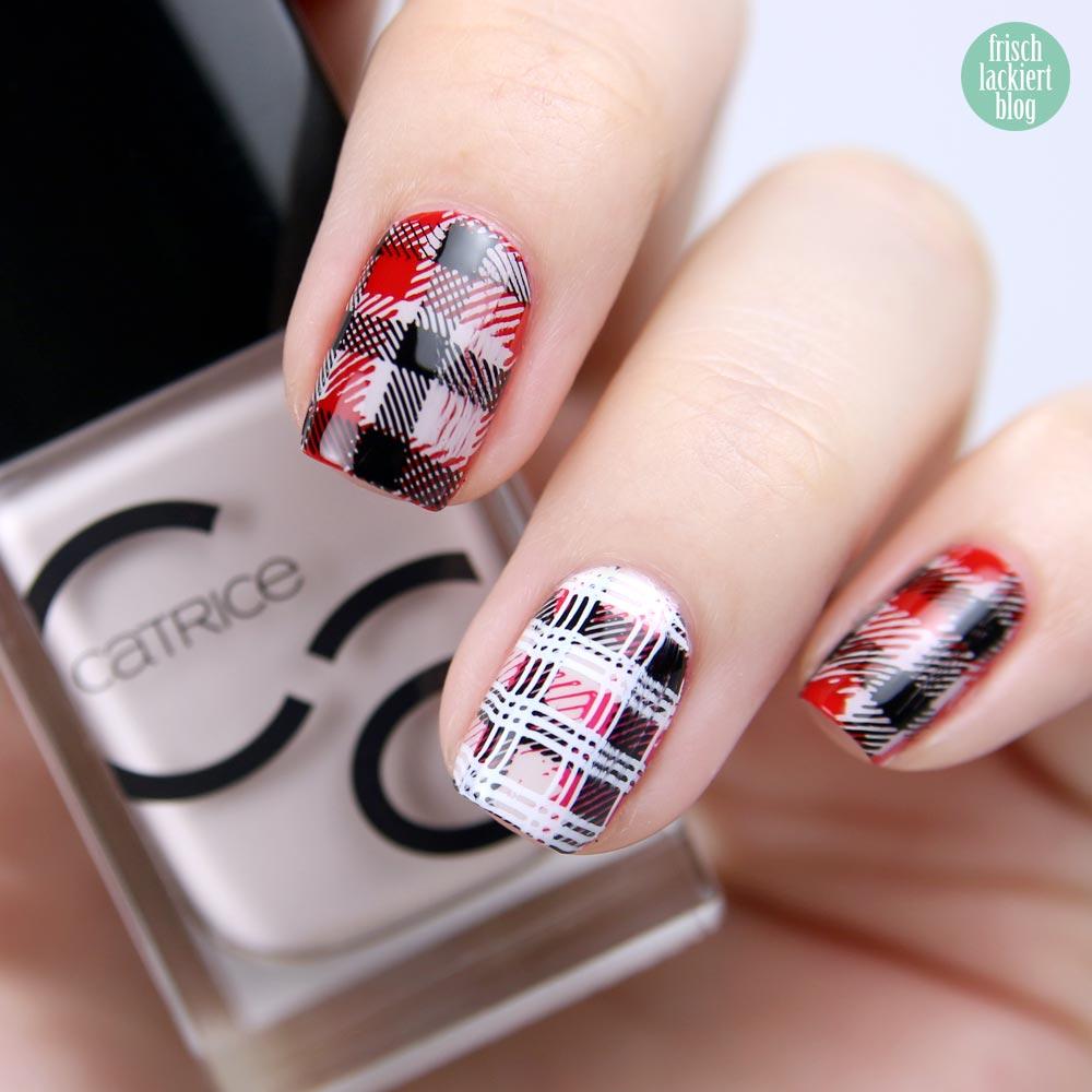 Frischlackiert-Challenge – Kariert – squared nailart - rot schwarz - by frischlackiert