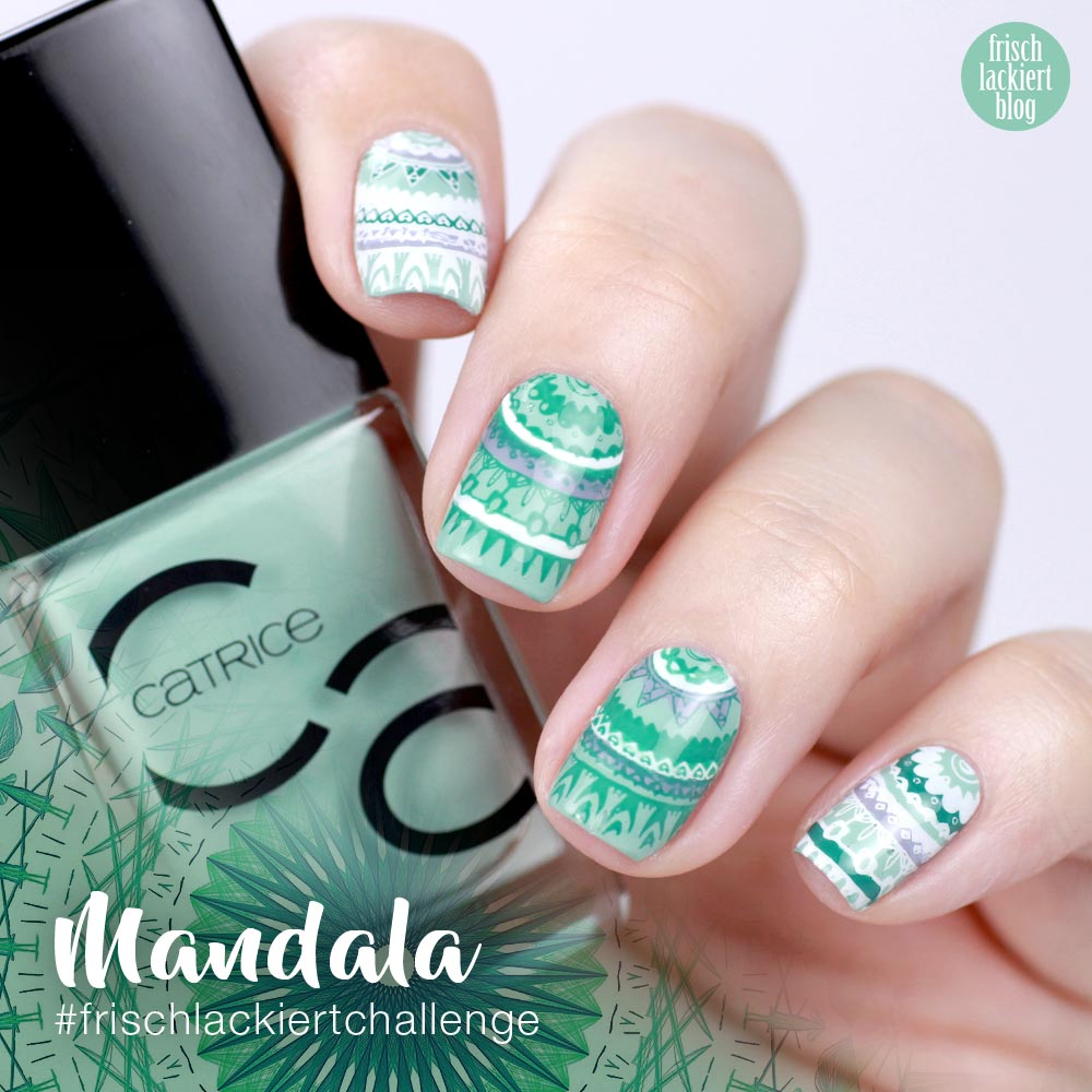 Frischlackiert-Challenge – Mandala Nailart – turqouise Nails – Catrice ICONails – Reverse Stamping – by frischlackiert