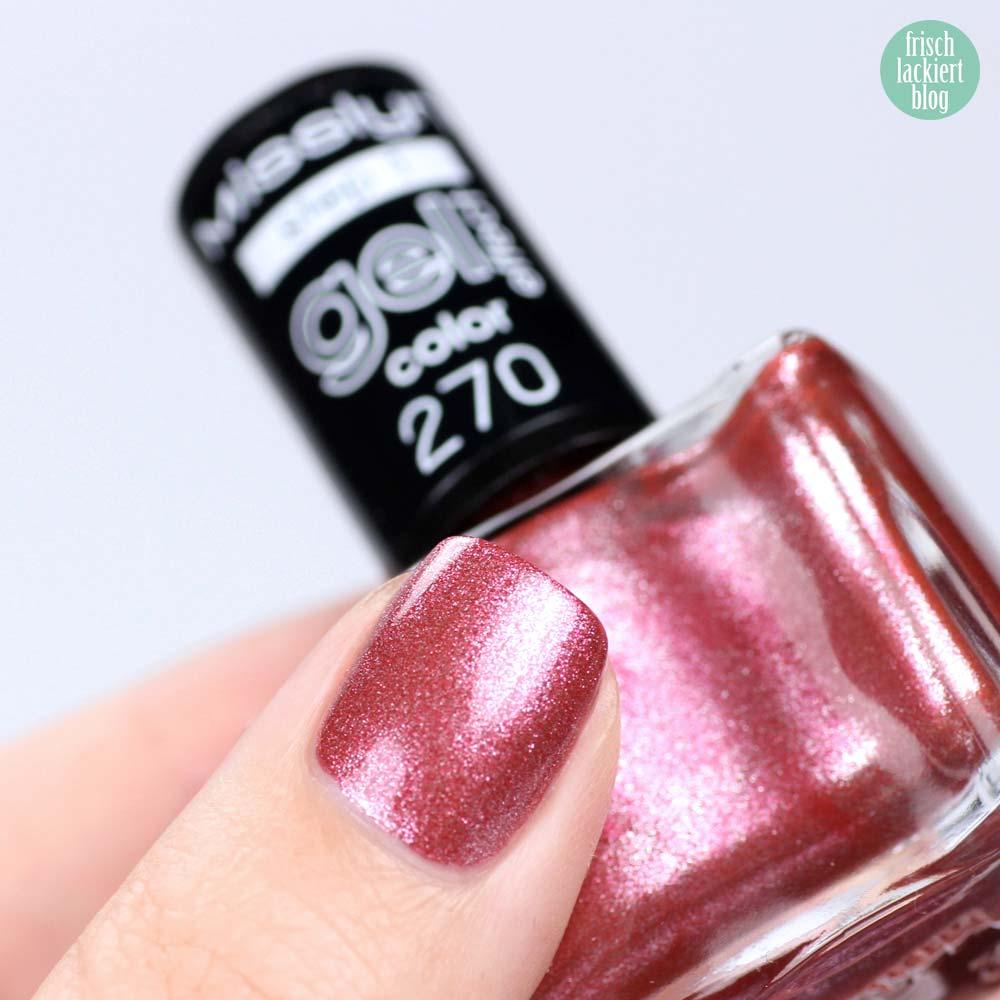 Misslyn Gel Effekt Nagellack – 270 diva royale – Schimmer Kupfer Rosa - swatch by frischlackiert
