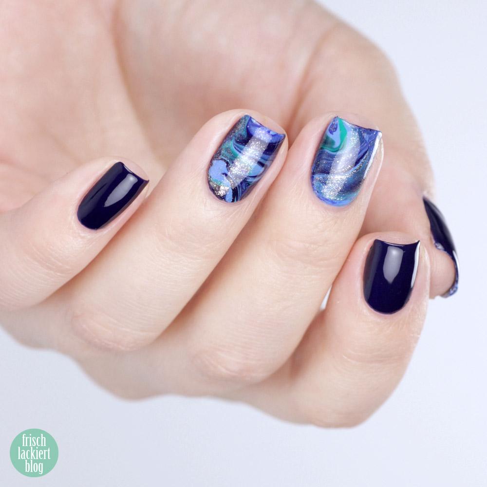 12 Monate 12 Techniken – Blogparade – Drip Marble – Nailart Blau Gold und Türkis – by frischlackiert