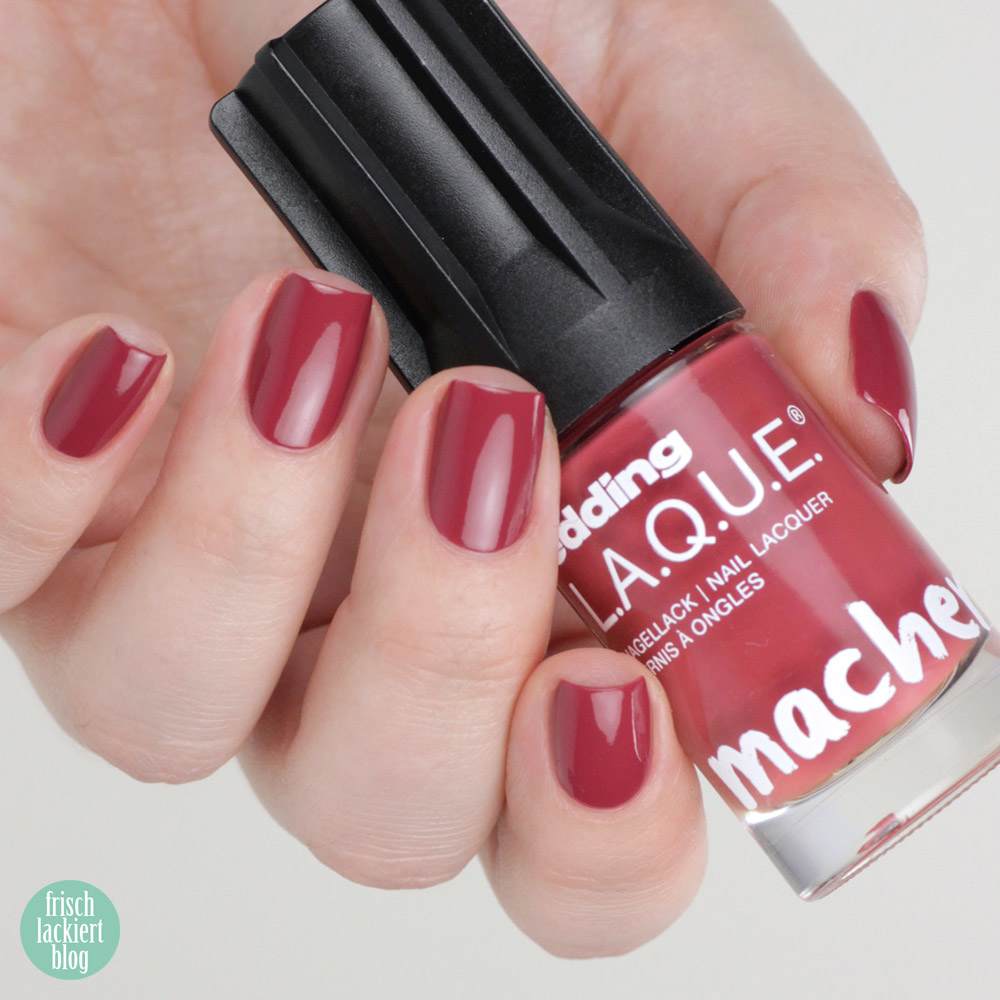 Edding L.A.Q.U.E. – Powerfrauen Kollektion 2018 - Chubby Chesnut - red nailpolish - swatch by frischlackiert