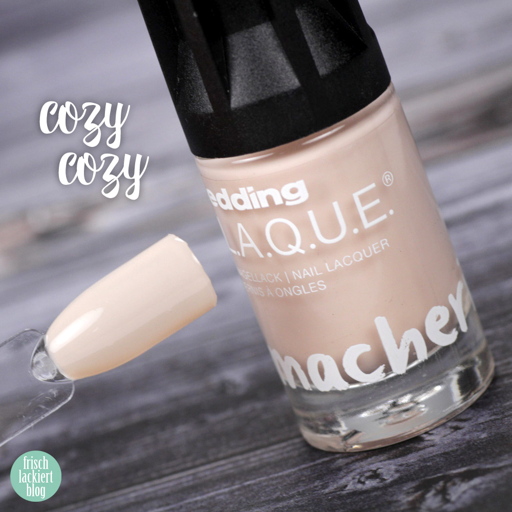 Edding L.A.Q.U.E. – Powerfrauen Kollektion 2018 - Cozy Cozy - nude sheer nailpolish - swatch by frischlackiert