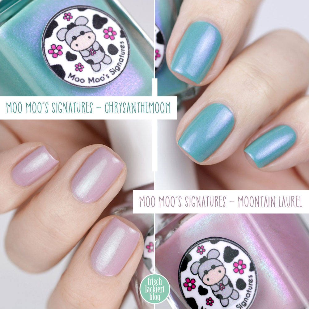 Moontain Laurel & Chrysanthemoom von Moo Moo´s Signatures // Exclusiv bei Color4Nails – swatch by frischlackiert