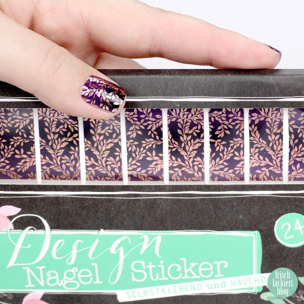 Sticker Gigant Nagelsticker – Mitternachtsgold – Ranken in Roségold und Violett – Nailart – by frischlackiert