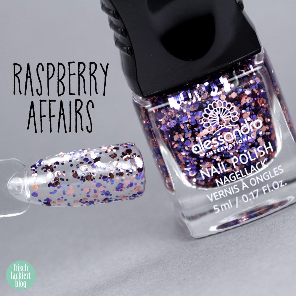 Alessandro Nagellack – Herbst Kollektion 2018 – Summer Berries – Raspberry Affairs – Violett Rosegold Glitzer Topper – swatch by frischlackiert