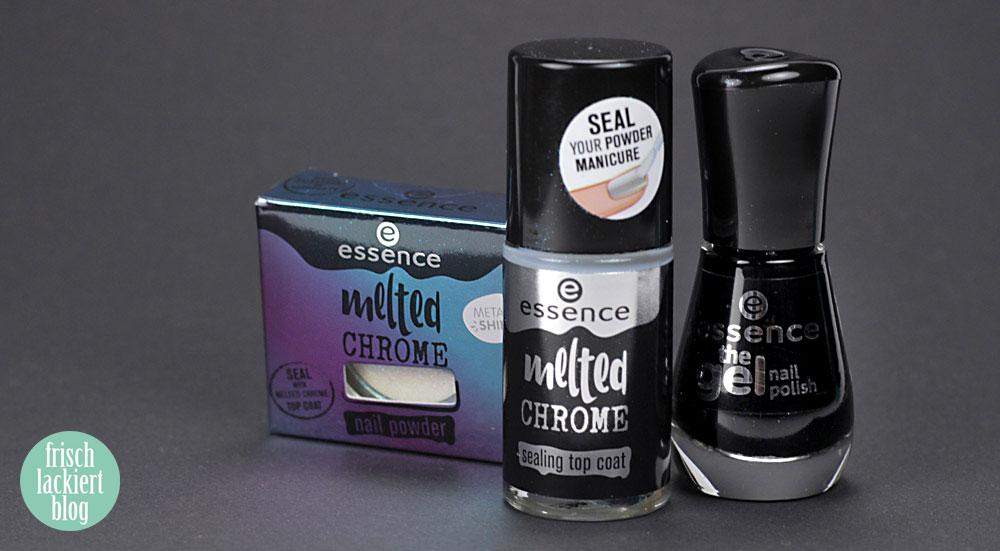 melted chrome powder von essence – 05 miracle – chrome Trend für die Nägel mit Nagellack – swatch by frischlackiert