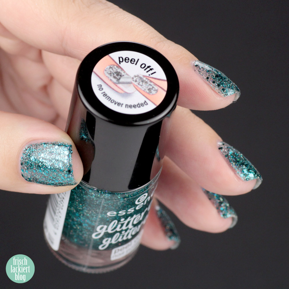 essence glitter on glitter off Peel-Off Glitzer Lacke im Test – glitter in the air – swatch by frischlackiert