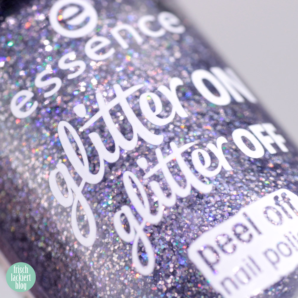 essence glitter on glitter off Peel-Off Glitzer Lacke im Test – starlight express – swatch by frischlackiert
