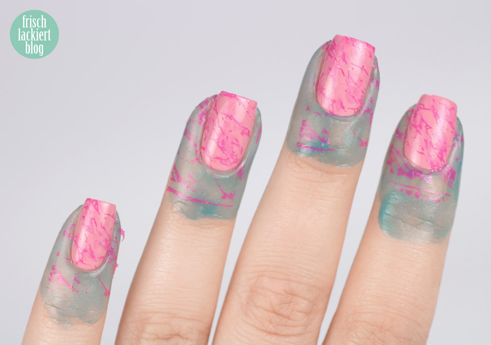 Rosa Stamping Marmor Nailart mit essie young, wild & me und MoYou Explorer Collection 33 – by frischlackiert