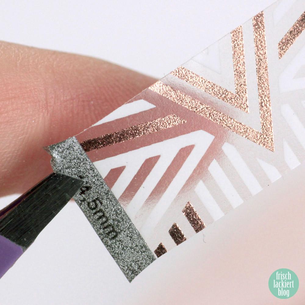 Sticker Gigant Nagelsticker – Streifengold – Weiß Rosegold Nailart – by frischlackiert