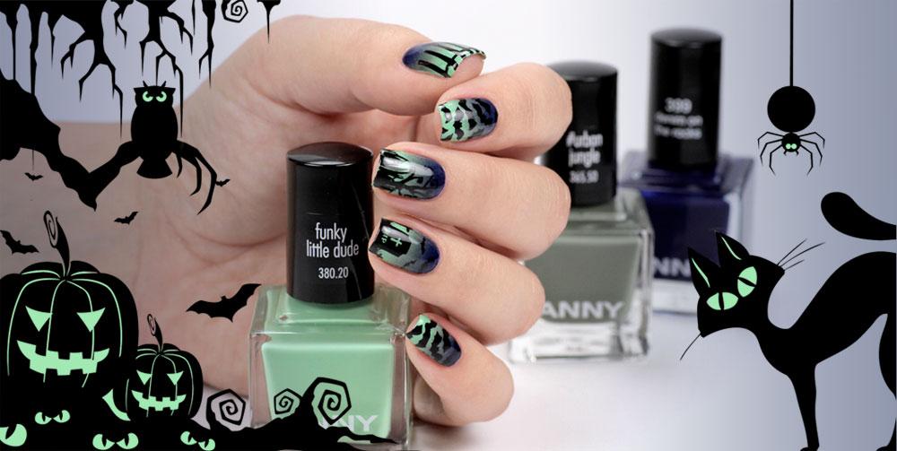 Halloween Nailart mit ANNY – gruseliger Friedhof – Gradient Nails – by frischlackiert