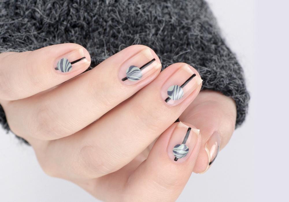 Frischlackiert-Challenge – Minimal Look – Nailart mit Watermarble – by frischlackiert