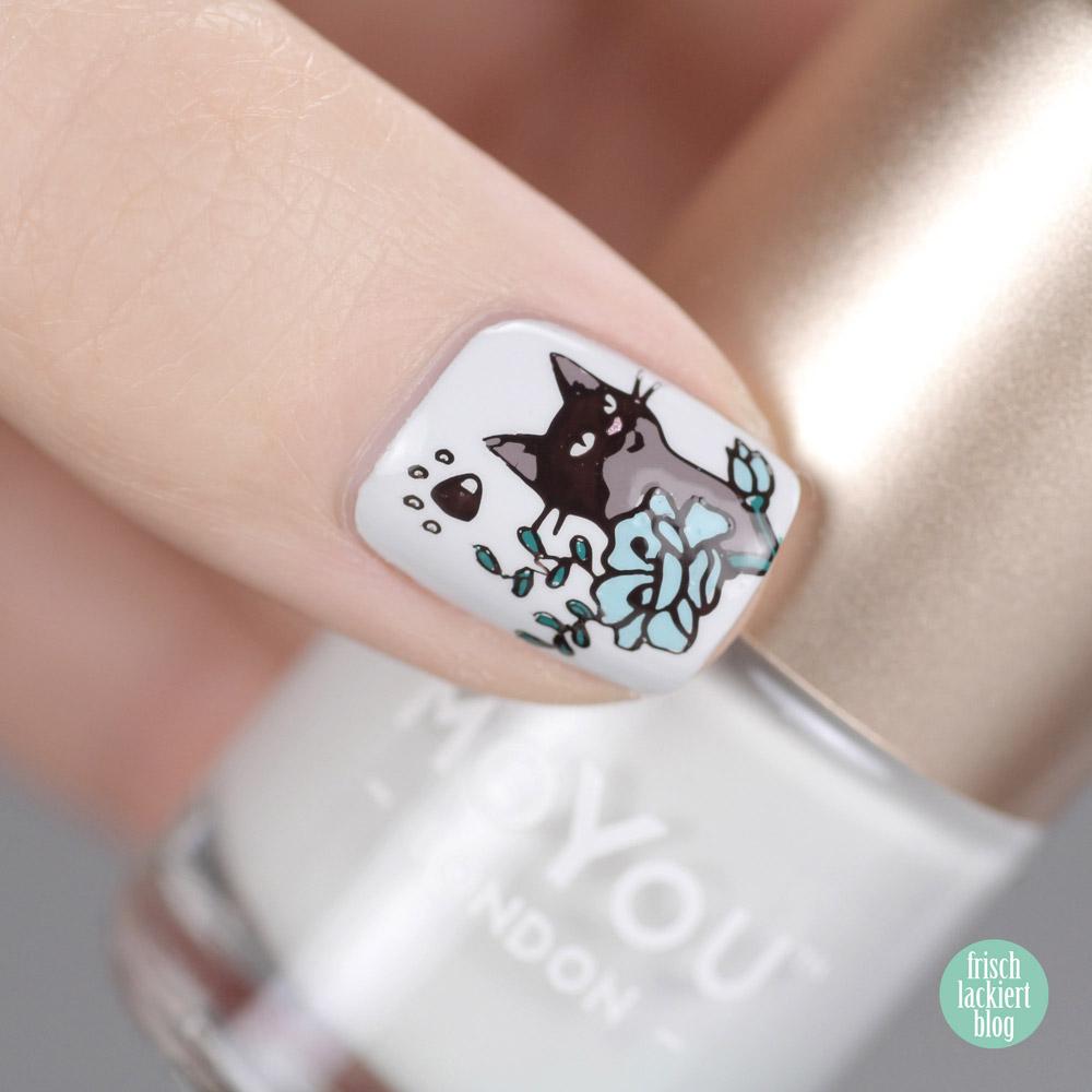 MoYou Stamping Nailart – Katzen Nageldesign – cat nailart – by frischlackiert