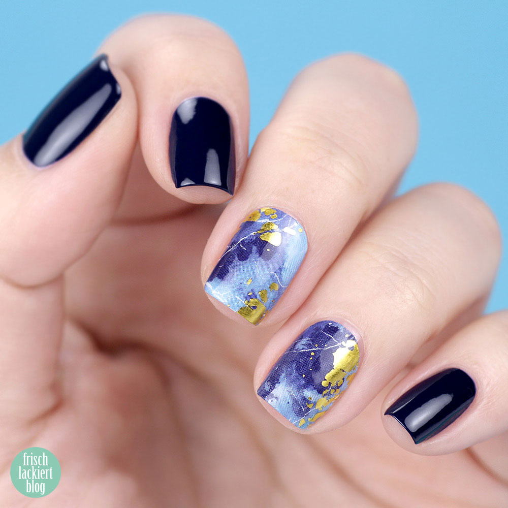 Sticker Gigant Nagelsticker / Nagelfolien – Ozeangold – Marmor Blau Gold Nailart – swatch by frischlackiert