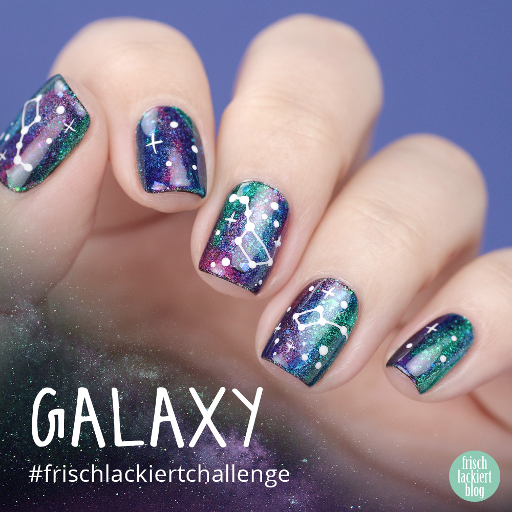 Frischlackiert-Challenge – Glitter Galaxy Nailart – by frischlackiert