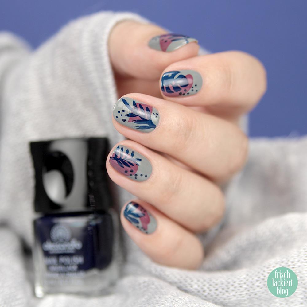 Sommerliches Doppelstamping Nailart mit MoYou Summer Lovin Collection 02 – Grau Rot Blau – by frischlackiert