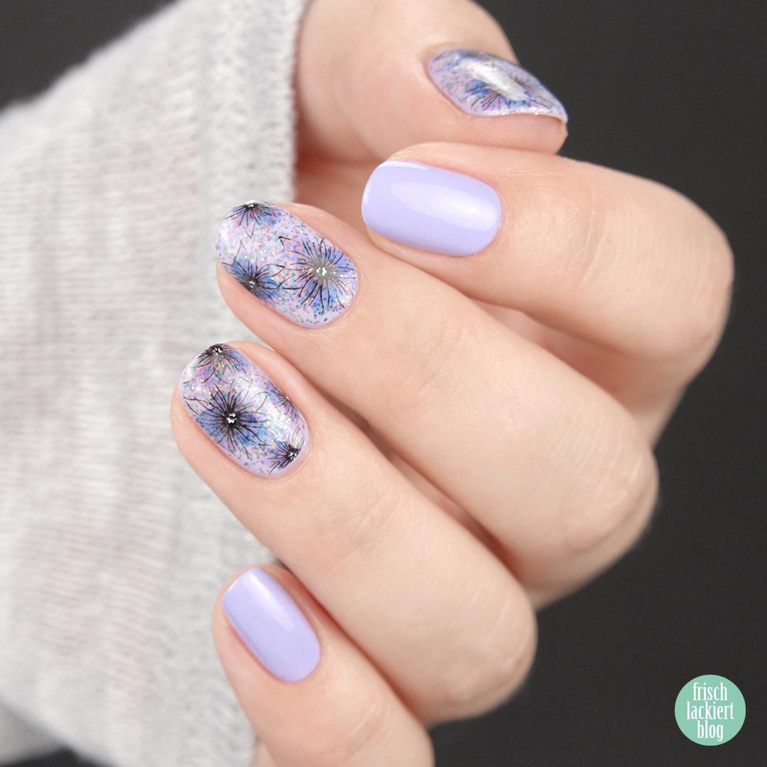 Dreamy Ink Floral Nail Stickers von So Nailicious – Blumen Nailart mit Glitzer Flieder – by frischlackiert