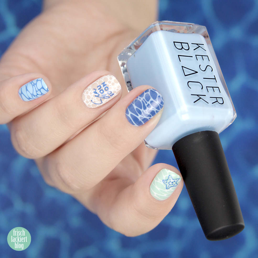 Beach Nails mit Kester Black – Sea Ocean Nailart MoYou Summer Lovin 06 – Sommer Nailart – by frischlackiert