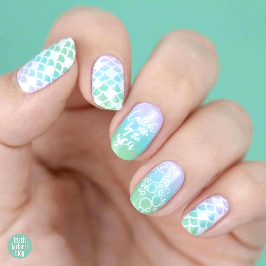 Mermaid Nailart – Meerjungfrauen Gradient mit Stamping – inspiriert von Hitschler – by frischlackiert