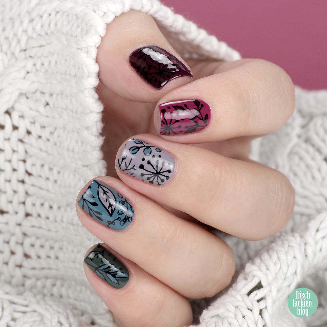 YpsLackiertChallenge – Herbststimmung Stamping Nailart – fall nails – flower stamping – by frischlackiert