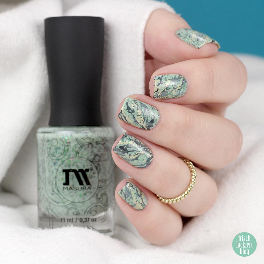 Marmor Nailart in Mint – mit masura pistachio ice cream – by frischlackiert