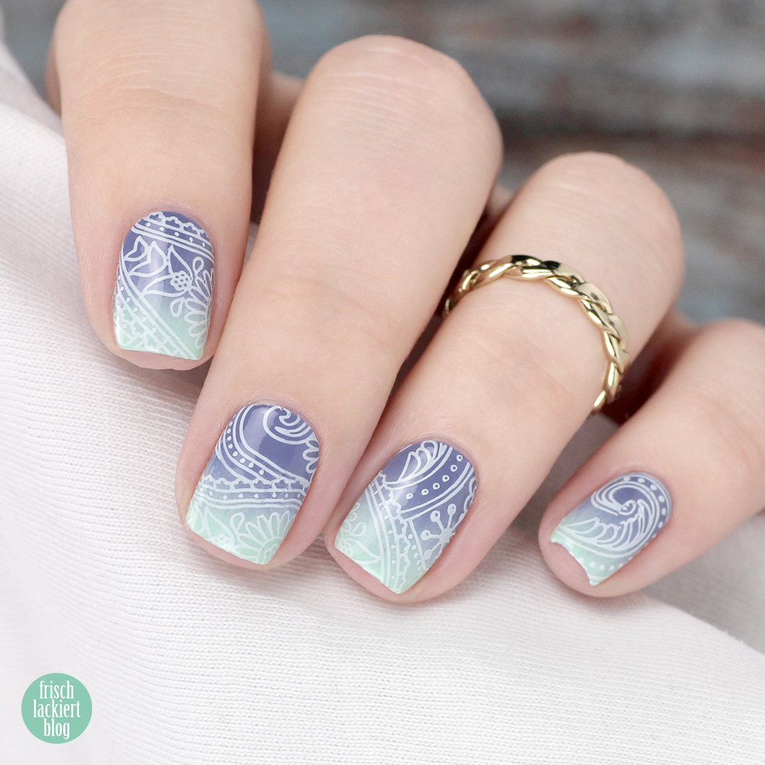 spring gradient stamping nail art - by frischlackiert