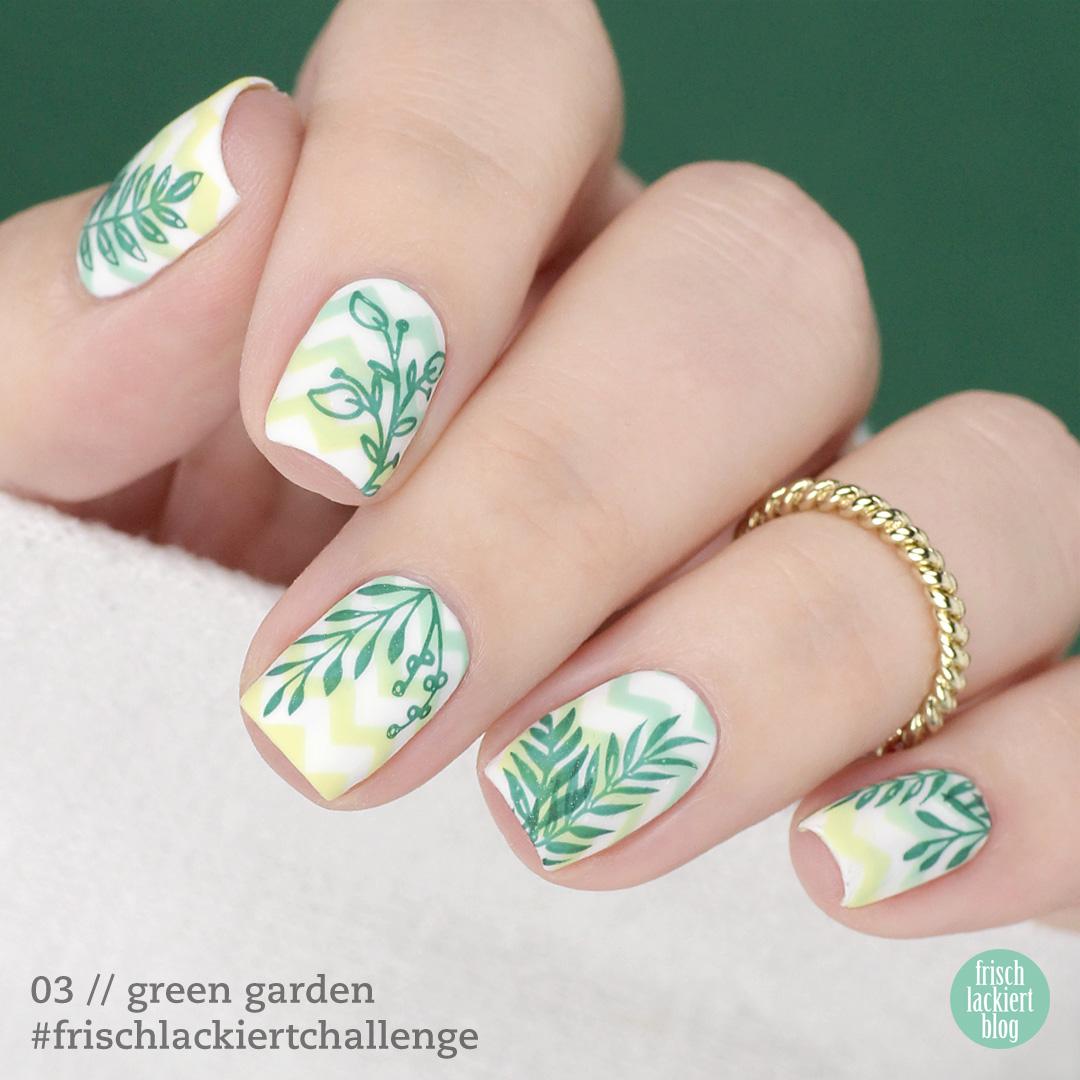 Frischlackiert-Challenge green garden nailart – chevron stamping nails - by frischlackiert